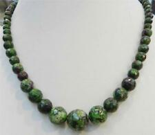 """Fashion 6-14mm Red Green Ruby Zoisite Round Beads Necklace 18"""" AAA"""