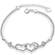 925 Silber Bettelarmband Zwei Herzen Zirkonia Armreif Armband Bracelet Damen Neu