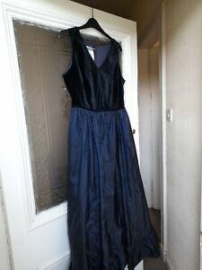 Laura Ashley Vintage Midnight Blue Size 16 Taffeta & Velvet Dress / Ballgown