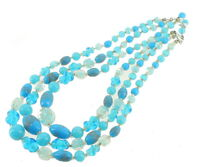 """Vintage 3 Strand Turquoise Blue & Gold Art Glass Beads Necklace Japan 15"""" Choker"""