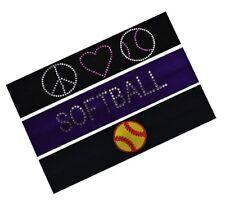 Softball Player Set of 3 Softball Cotton Stretch Headbands + Rhinestones - Funny