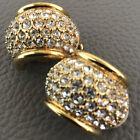 Vtg Signed Swan Swarovski crystal Pave Faux Diamond Gold Tone Clip Earrings