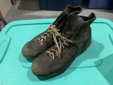 Vintage 1950s/60s Black Leather High Top Football Shoes Cleats Size 10-11 Rare