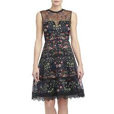 ELIE TAHARI Black Embroidered Organza Sleeveless MARITZA Dress Sz 6 • MSRP $598