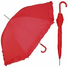 Red Hat Ladies - Large (48-inch) Red Rain Umbrella with Ruffle made in U.S.A.