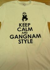 Mens Port And Company Keep Calm And gangnam Style Graphic White Tee S/S  SZ S