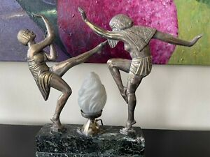 Art Deco Egyptian Dancers lamp, signed Janle and attributed to Max Le Verrier st