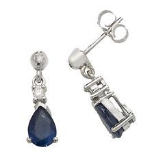 Unique Wishlist 9ct White Gold Sapphire & Diamond Small Pear Drops *ED245WS