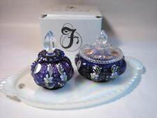 0500-A5 3 piece Royal Purple Vanity Set #130/1000 Fenton signed. NIB
