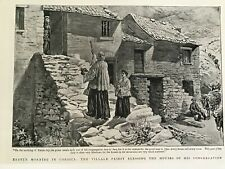 More details for old antique print, 1893, easter morning in corsica, priest blessing houses