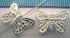 1x STERLING SILVER BUTTERFLY HEAVY SPACER BEAD 10mm x 14mm  #472