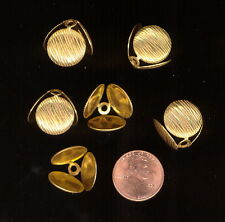 6 Vintage RUSSIAN GOLD PLATED Miriam Haskell 3 Circle Bead Caps 15mm h x Various