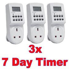 3 x PC 7 giorno LCD digitale elettronica plug-in programma 12/24 Hour TIMER Switch