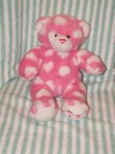 Build A Bear Bab Pink Bear with White Hearts Love Valentines Plush Stuffed Toy