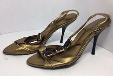Womens Karen Millen GOld metallic leather ankle strap sandals heels UK 5 Eu 38.5