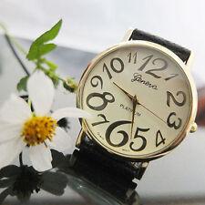 Ladies Fashion Gold Geneva Platinum Quartz Cream Faced Black Band Wrist Watch.