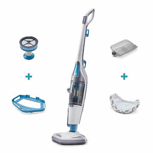 Black and Decker HEPA Corded Steam Mop and Vacuum Cleaner Combination Duo, White