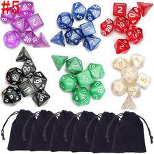 42Pcs Polyhedral Dice Set for Dungeons Dragons D20 D12 D10 D8 D6 D4 Games + Bag