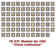 """76 3d STL Models """"Clock Collection"""" for CNC artcam 3d printer aspire"""