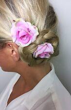 Two Pink Rose Flower Hair Clip Grips Choochie Choo Bride Bridal Wedding
