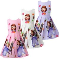 Girls Skater Dress Kids Sofia The First  Print  Casual Party Birthday Dress L24