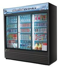 Turbo Air TGM-69RB Commercial Refrigerator 3 Sliding Glass Doors Black 69cf