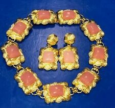 Roxanne Assoulin Choker Necklace &  Earrings Demi Parure Pink Stones