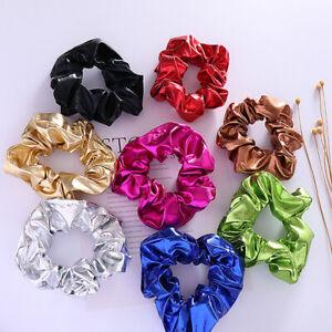 Women Shiny Metallic Hair Scrunchies Scrunchie Metallic Gold Silver Hairband Lot