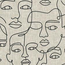 Textiles français Face 2 Face Linen Fabric 150 cm wide - Black on Natural Linen