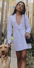 Plunging Poplin Mini Dress White Lowcut Tie Forever 21 Mini Dress New In Package