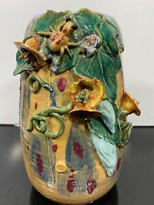 Rare Vintage Signed MANN Glazed Majolica Raised Art Pottery Vase