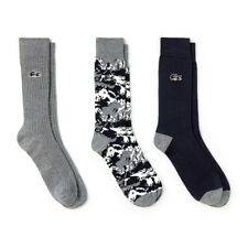 Lacoste Mens Three-Pack Print and Solid Stretch Cotton Socks - Meridian Mix - 6