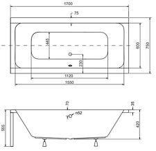 Badewanne Rechteck Acryl 155x70, 165x75, 170x75, 175x80, 180x80 Fü�Ÿe QUADRO F