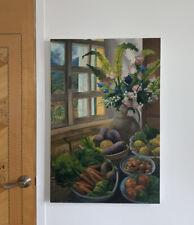 Art Oil Painting Original Flowers Fruit Still Life, Italian Window LARGE