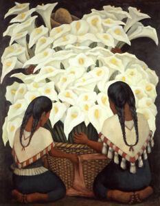 Calla Lily Vendor by Diego Rivera   Paper Print Repro