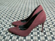 New Look Ladies Heeled Court Shoes Burgundy Suede Size 8 / 41