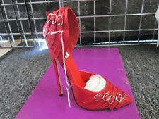SHOES CROSSDRESSERS SIZE 12 RED STRAPS  6 INCH HEEL