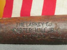 "Vintage Antique Wood Baseball Bat Larkey Co. Carter Hall Jr. Clothes Promo 35"""