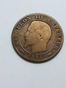French 1856 W Napoleon III Cinq 5 Centimes Coin