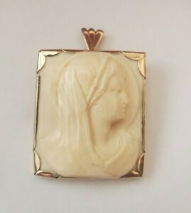 """10kt Yellow Gold Vintage Religious Pendant 2""""by 1.25"""" (Madonna)"""