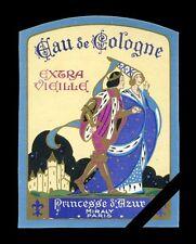 Vintage French Perfume Label: Antique Princesse Azur - Miraly, Paris France