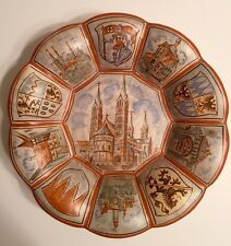 Ceramic Hand Painted Coat Of Arms Church Wall Plate Signed