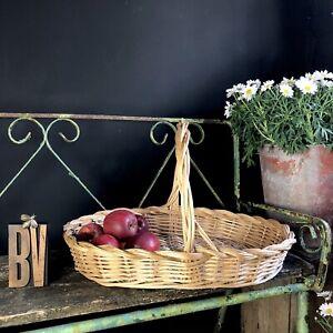 Vintage wicker Garden Harvest Basket trug/vegetable and fruit basket.