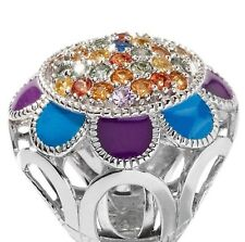 Sima K 2.22ct Multi Sapphire Sterling Silver Enamel Dome Ring Size 9