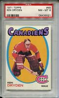 1971 Topps Hockey #45 Ken Dryden Rookie Card RC Graded PSA NM MINT 8 Canadiens