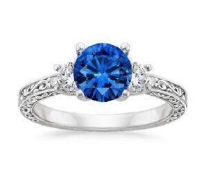 1.83 Ct Natural Diamond Blue Sapphire Gemstone Band 950 Platinum Ring Size 5 7 8