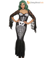 Ladies Skeleton Mermaid Costume Halloween Adults Day of The Dead Fancy Dress