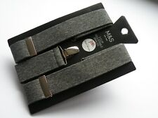 NEW MARKS AND SPENCER MENS GREY 3 CLIP ADJUSTABLE BRACES BNWT MADE IN THE UK