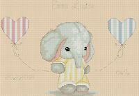 Cross Stitch Chart - New Baby Birth Sampler Elephant 5  FlowerPower37-uk