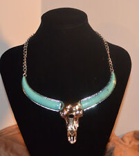 Silver Tone metal Chain and Bull Like Skull with Jade Colored Horns